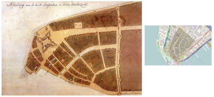 Le plan Castello montre les premières habitations de Manhattan. Sur la carte actuelle, la zone gagnée sur la mer double la surface de Manhattan
