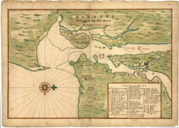 Carte de Manhattan de 1639 représentant l'île sans aucune habitation.