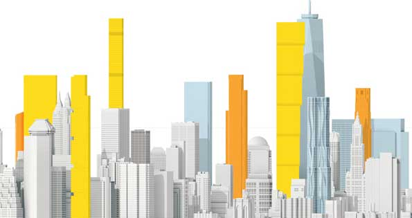 Vue de face de New-York, les nouveaux gratte-ciel ressortent en couleur