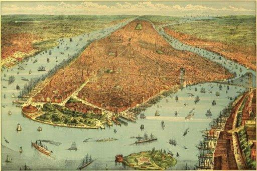 Carte en perspective, vue en hauteur. Beaucoup d'immeubles, les premiers buildings et un pont sur l'hudson sont apparus