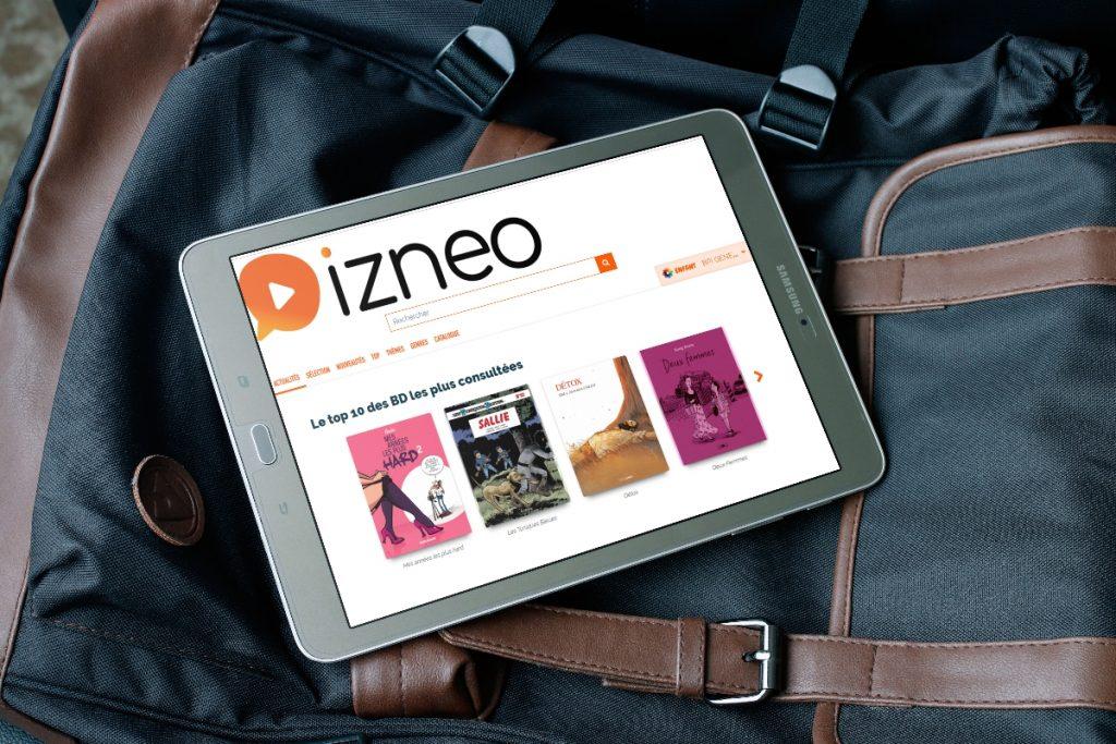tablette numérique avec l'application Izneo ouverte